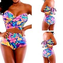 Women Triangle Swimsuit Sexy Hand Wrap Bikini Floral Bandage 2pc M Pool Party! - $10.89