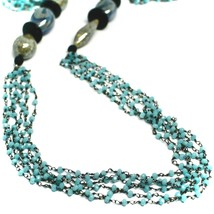 """NECKLACE BLACK, BLUE SPOTTED DROP OVAL MURANO GLASS, MULTI WIRES, 90cm 35"""" LONG image 2"""