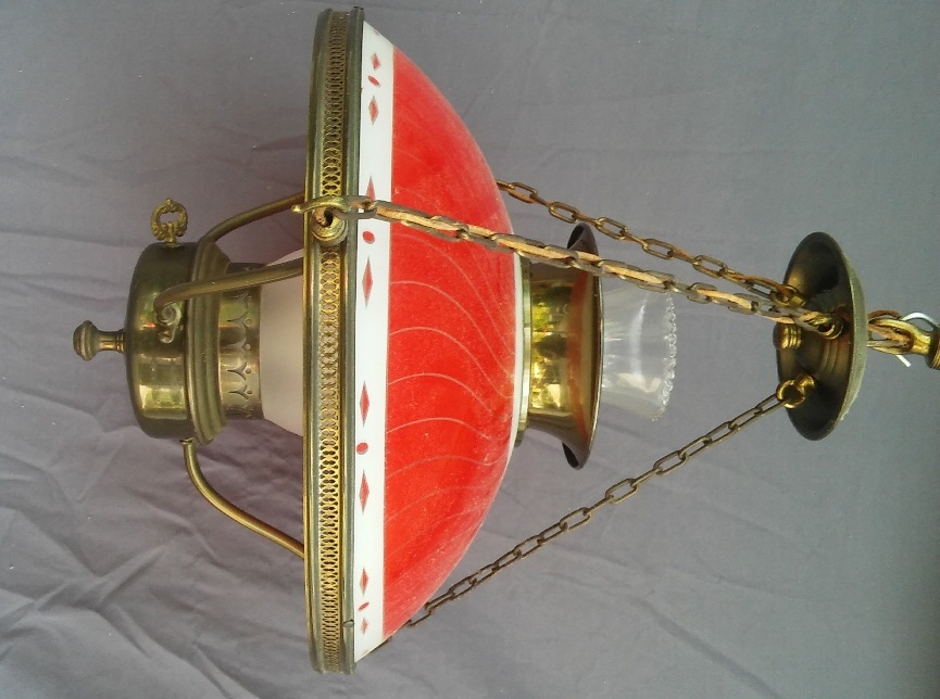 Spectacular Early Mid-Century Light Fixture Victorian Style Reverse Paint Glass!