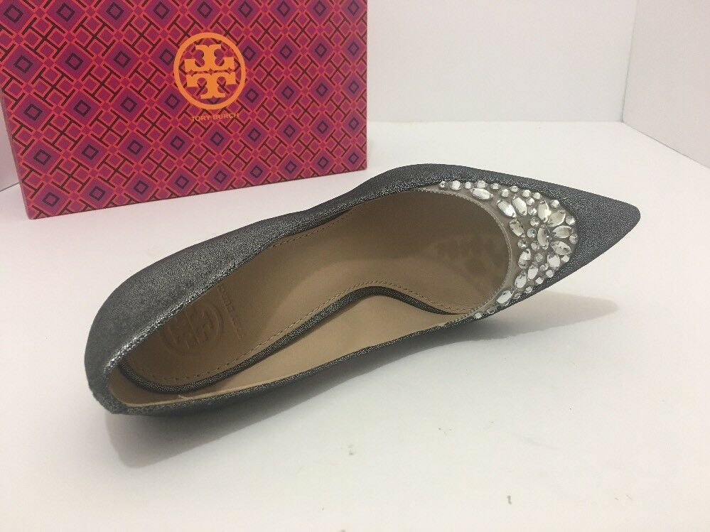 Tory Burch Delphine 85mm Pewter Women's Pointed Toe High Heel Pumps Size 8.5 M