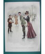 WINTER Skating Rink Lady Writes Letter - VICTORIAN Era Print Color - $12.15
