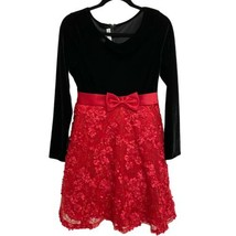 Bonnie Jean Red & Black Floral Long Sleeve Holiday Dress Girl's 18 1/2 (... - $24.75