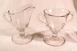 Sugar Creamer set Imperial Glass Candlewick  Clear Ridged - $40.00