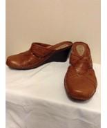 Clarks Artisan Women's Size 8 M Brown Leather Mule Slide Heel 74533 Wedg... - $17.95