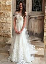 Elegant Tulle Off-the-shoulder Neckline A-line Wedding Dress 3D Lace Applique El image 3