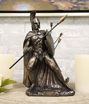 Ebros Gift King Leonidas of Sparta with Javelin Spear and Round Shield Statue Sp - $55.99