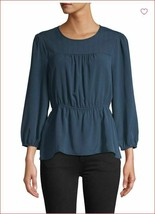 new BCBGMAXAZRIA women blouse dress top TNC1252788-988 082019 blue sz L ... - $44.54
