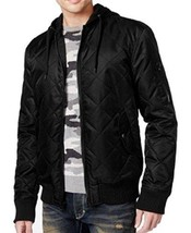 American Rag Men's Quilted Hooded Bomber Jacket, Deep Black, Sz. Small - $19.39