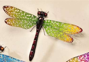 GREEN & YELLOW METAL DRAGONFLY WALL DECOR