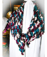 Classy but Casual Crocheted Shoulder Wrap Shawl Cowl Handmade Blue Burga... - £18.52 GBP