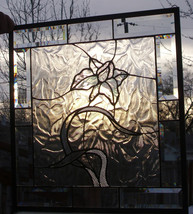 Stained Glass Window Panel Clear Elegant Textures Beveled Glass Floral  - $198.00