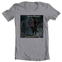 Grim Reaper T-shirt 1980s Heavy Metal Retro Rock 100% cotton grey graphic tee image 1