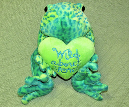 "17"" COMMONWEALTH FROG STUFFED ANIMAL GREEN SPOTTED PLUSH WITH HEART 2001... - $21.78"