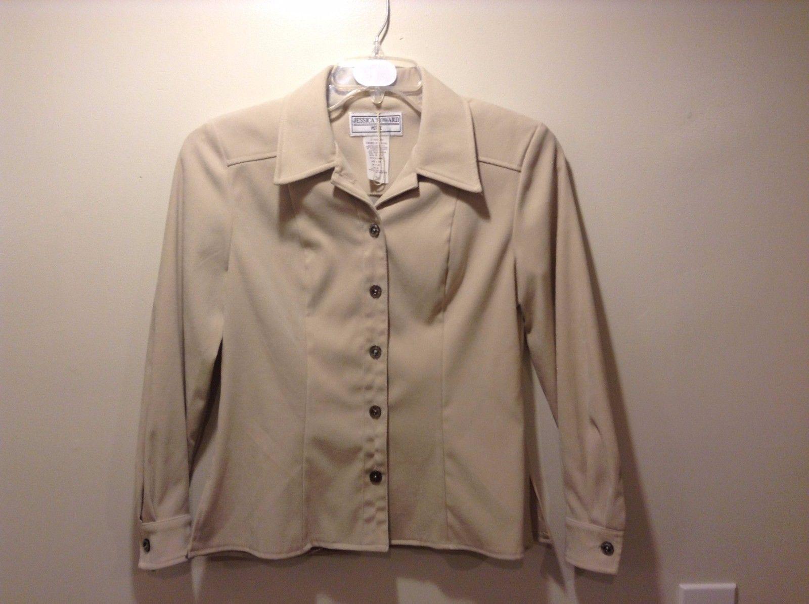 Jessica Howard Petite Long Sleeve Beige Button Up Blouse Sz 4