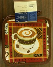 "2 Printed Kitchen Pot Holders (7"" x 7"") 100% Cotton, COFFEE CUP, brown back - $7.91"