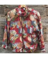Vintage Womens Fuda Printed Jacket 1990s Size S Small Silk - $49.49