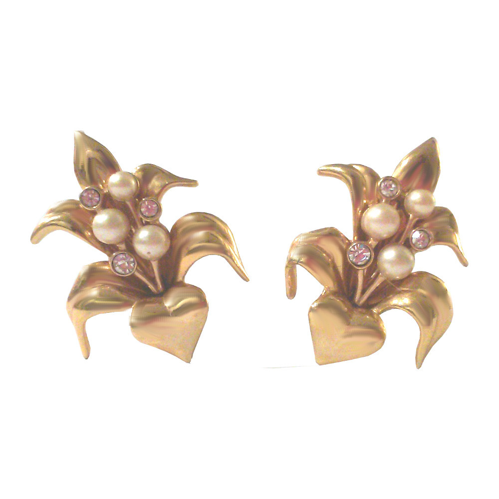 Vintage Swarovski Crystal and Faux Pearl Heart Statement Clip On Earrings - $150.00