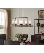 Rustic Chandelier Metal Wood Hanging Pendant Light Ceiling Fixture Lamp ... - $369.97