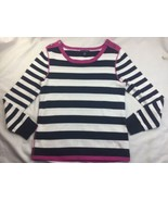 Tommy Hilfiger Blue Pink trim Striped Pullover Sweater Size L Button Acc... - $18.68