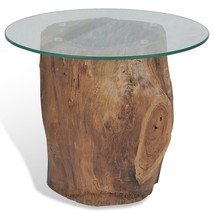 Natural Wood Coffee Table Solid Teak Glass Tabletop Rustic Home Living F... - $213.05