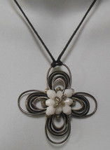 Vintage Signed Kien Wired Silver-tone Milk Glass Bead Flower Pendant Nec... - $22.76