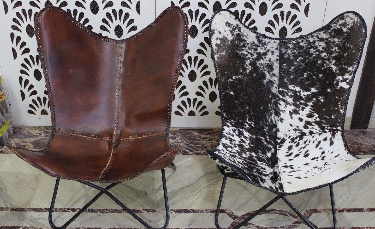 2x  Classic Cover Cowhide Leather BKF Butterfly Chair - Only Covers.