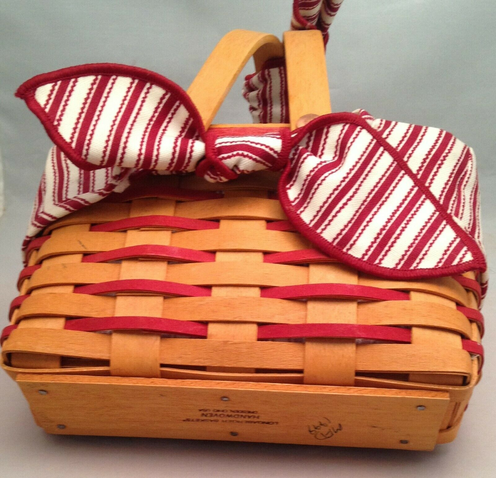 Longaberger 1998 Sweetheart Picture Perfect Basket Combo Red Ticking Fabric