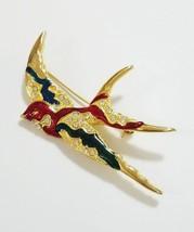 Vintage Hirundo bird brooch pin multi color rhinestones enamel - $23.76