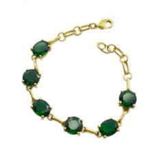 pulchritudinous Emerald CZ Gold Plated Green Bracelet Natural casually US gift - $24.74