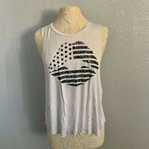 Epris Muscle Tank Womens Medium White Patriotic American Flag Lips NWOT ... - $9.50