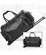 """Black Leather 21"""" Folding Trolley Tote Gym Bag Rolling Duffle with Wheel... - $42.29"""