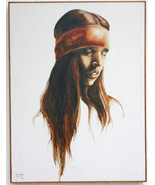"""RARE Original, Signed 1976 Popo & Ruby Lee Oil Painting """"Indian Girl"""" wi... - $19,200.00"""