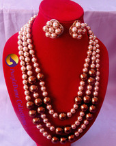 Three layered beaded necklace and ear-rings, golden color with box to pa... - $70.00