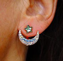 Crystal Love You to Stars star Moon Ear Jacket ... - $9.99