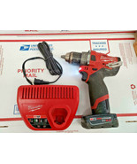 """MILWAUKEE 2504-20 1.2"""" HAMMER DRILL M12 12V WITH BATTERY & CHARGER 10698... - $98.99"""