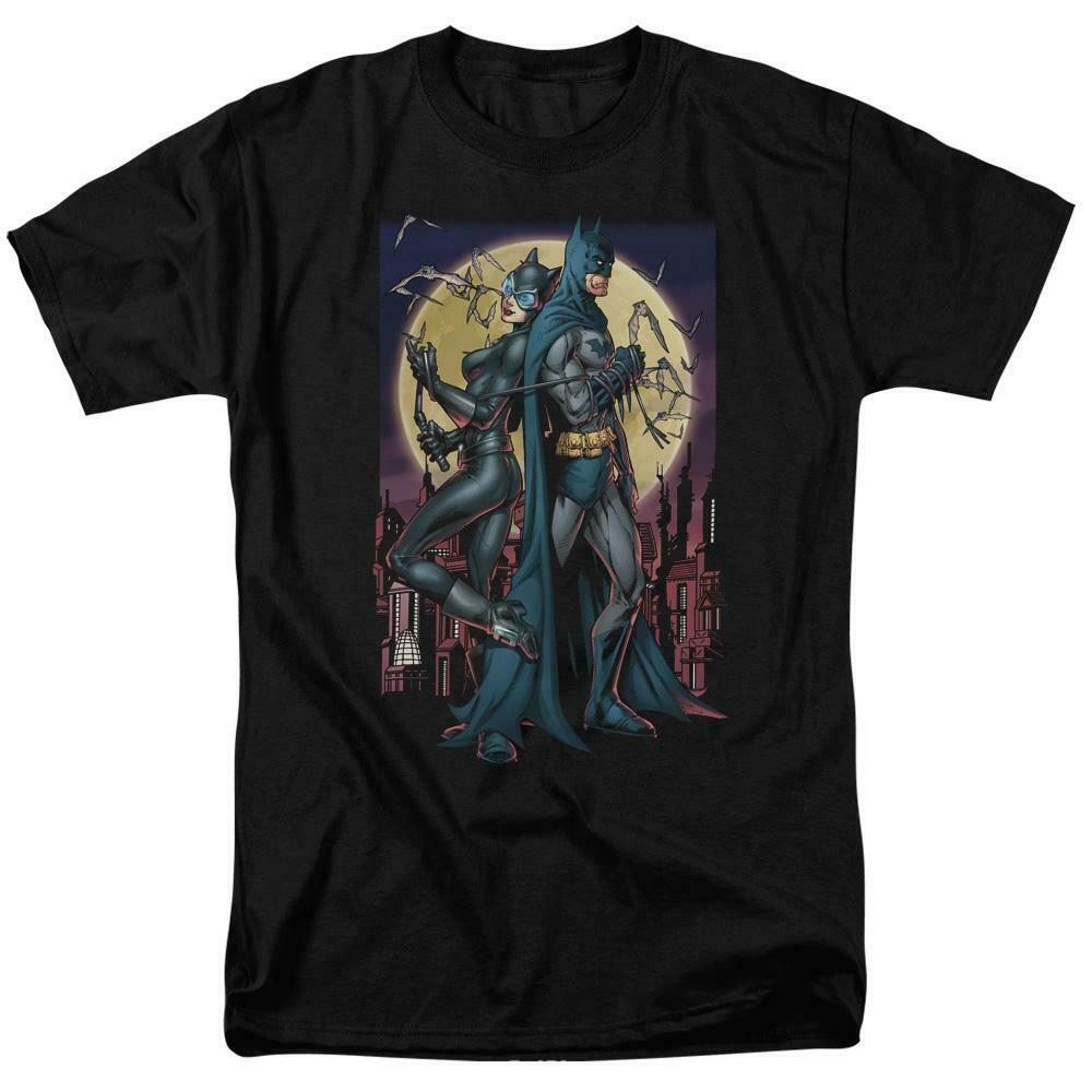 Batman  Catwoman t-shirt retro DC comics black cotton graphic tee BM2258