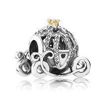 Authentic 925 Sterling Silver Bead Charm Cinderella pumpkin coach With C... - $15.99