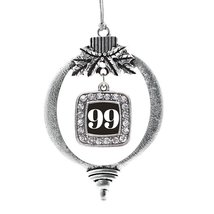 Inspired Silver Number 99 Classic Holiday Christmas Tree Ornament With Crystal R - $14.69