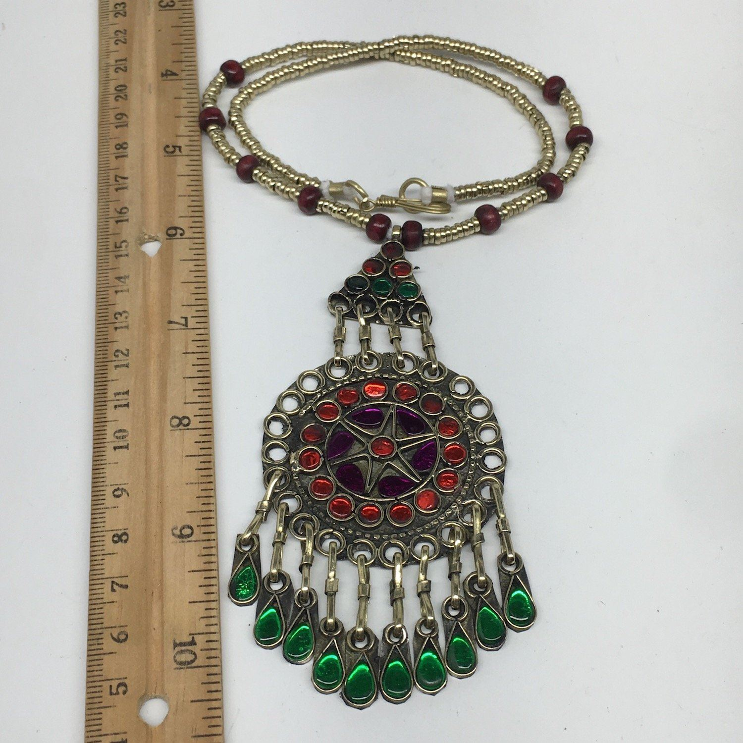 Kuchi Necklace Afghan Tribal Fashion Colorful Glass ATS Necktie Necklace, KN420