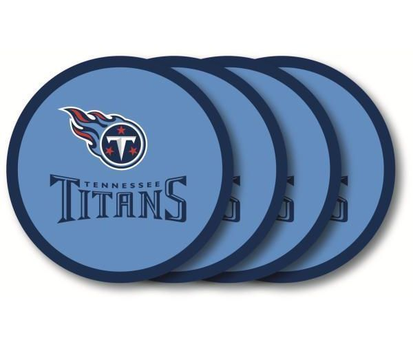 TENNESSEE TITANS 4 PACK HEAVY DUTY VINYL DRINK COASTER SET NFL FOOTBALL