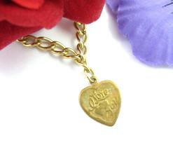 "I LOVE YOU HEART Charm Chain BRACELET Vintage Goldtone Short 6"" Length - $16.99"
