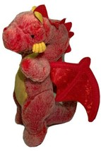 Russ Berrie Red DRAGON Plush Yellow Chest Stuffed Animal Shiny Wings - $14.99