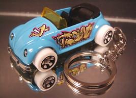 Blue VW Volkswagen Beetle Convertible Key Chain Ring - $11.11