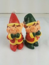 Vintage Christmas Elf Elves Hallmark Salt and Pepper Shakers Set Red Green  - $7.87