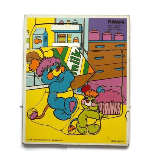 Playskool Wooden Puzzle: Popples Snack Time 1986 With Puffball & Putter Cupcake - $14.25