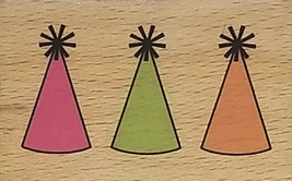Studio G Party Hats Wood Mounted Rubber Stamp