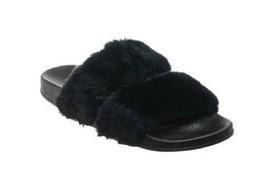 Womens Black Faux Fur Double Strap Open Toe Contour Slide Sandal Shoes New - $22.49