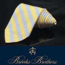 BROOKS BROTHERS Tie SILK Yellow Blue White REGIMENTAL STRIPES Made USA - $35.88
