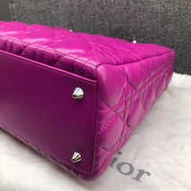AUTH Christian Dior Lady Dior Medium Fuchsia Pink Cannage Lambskin Tote Bag SHW image 6