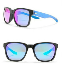 $175 Nike Recover Square Sunglasses Frame Black Blue Lens Blue Mirror 57... - $89.00